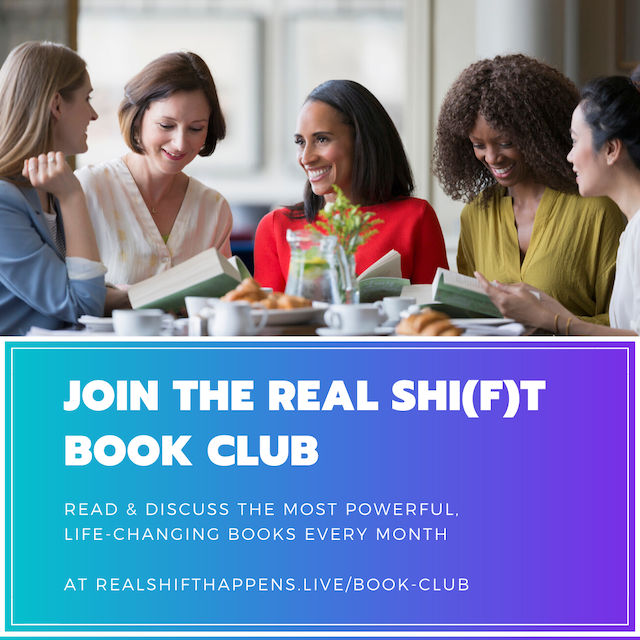 Join the Real Shift Book club women discussing book at table